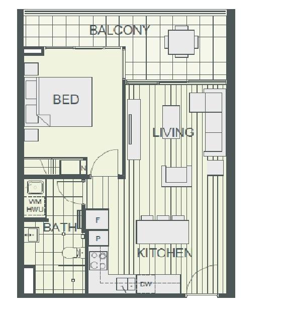 NV Floor Plan of Typical 1-Bedroom Unit