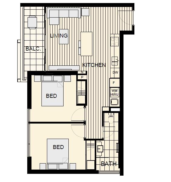 NV Floor Plan of Typical 2-Bedroom Unit