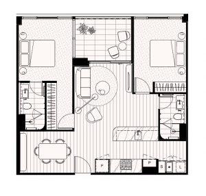 2-Bedroom 2-Bathroom